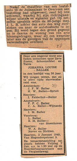 advertentie Johanna L Baller